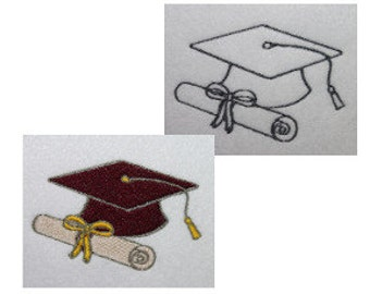 Graduation Cap and Diploma Digitized Machine Embroidery Design School