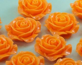 30 Coral Orange Rose Flower Cabochons Flat Back 28mm