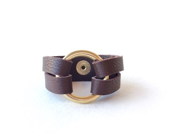Brown Leather Wrap Bracelet, Leather Wide Cuff Bracelet, Womens Leather Bracelet, Circle Bracelet, Leather and Metal Bracelet for Women