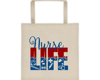 Nurse Life, Nurse Bag, Nurse Tote Bag, Gift For Nurse, RN Gift Bag, LPN Gift Bag, Typography Tote Bag, Medical Tote Bag, Nurse Canvas Bag