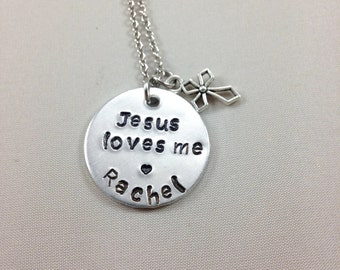 Jesus loves me necklace - little girl jewelry- Hand stamped- cross charm - personalized - little girl Christian gift- Christian - Jesus-