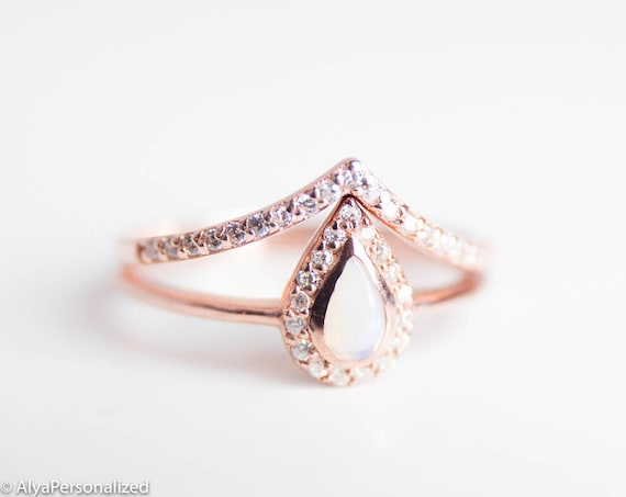 Rose Gold Engagement Ring Set Opal Engagement Ring Rose Gold