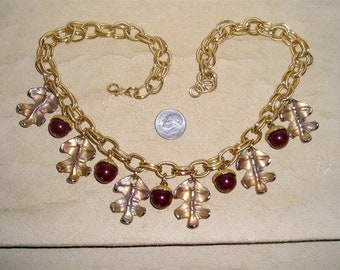 Vintage Signed Dauplaise Acorn And Oak Leaf Necklace Stylish 1950's Jewelry 115