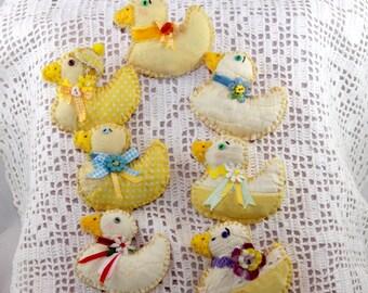 Yellow Springtime Duckie Magnets - Quilty Critters - OOAK, Folk Art, Novelty