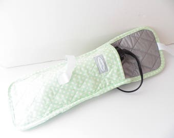 Mint Polka Dot Heat Resistant Hot Styling  Tool Flat Iron Curling Iron Travel Case Bag
