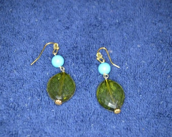 Vintage Green and Turquoise Dangle Earrings / Free Shipping