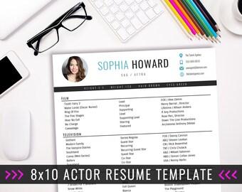 Actor Resume Template / 8 x 10 Acting Resume / Instant Digital Download / MS Word / Actor Marketing / Sophia Blue
