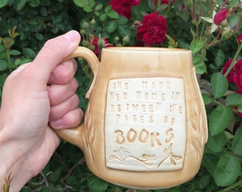 Golden Yellow Mug-She Made Her Home in Between the Pages of Books- Linger-Maggie Stiefvater-Pottery Handmade by Daisy Friesen