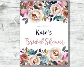 "Bridal Shower Welcome Sign Dusty Rose Pink Slate Blue Navy Floral 18"" x 24"""