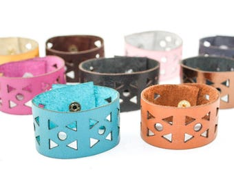 Leather Bracelet - Geometric Triangle Pattern - Laser Cut Leather Cuff (Choose Your Color and Size)