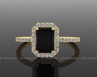 18k Yellow Gold Black Diamond Emerald Cut Engagement Ring, White And Black Diamond Halo Ring, Wedding Ring Re0005