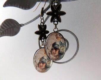 "Earrings Cabochon ""Woman elegant Retro"" Blue Bird brown hair"