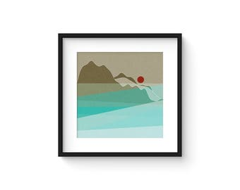 LANDSCAPE & BEYOND no.108 - Abstract Modern Minimalist Landscape Mid Century Style Art Print