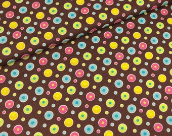 Cotton fabric circles colored on brown (9.40 EUR/meter)
