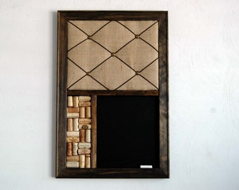 French Memo Board, Wine Cork Board U0026 Chalkboard Farmhouse Decor Kitchen  Wall Organizer