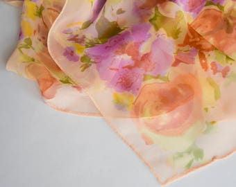Vintage Scarf  Chiffon Scarf 1980s - Gorgeous Design - Beautiful Accessory Good Condition