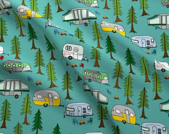 Park Camping Quilting Fabric by the Yard Childrens Fabric Cotton Knit Nursery Fabric Woodland Trees Trailers Campers Fabric 1366222