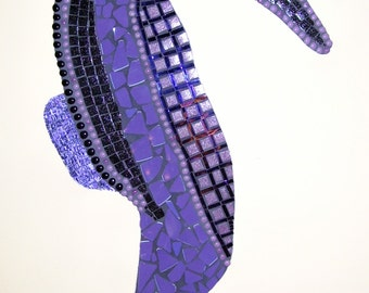 Seahorse mosaic large purple and black ocean life wall art