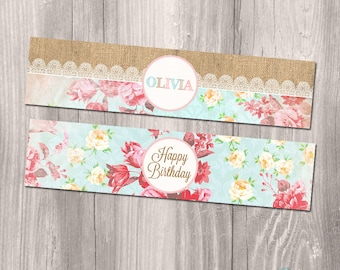 Shabby Chic Water Bottle Labels, Shabby Chic DIY water bottle labels, Floral burlap water bottle labels, Printable water bottle labels