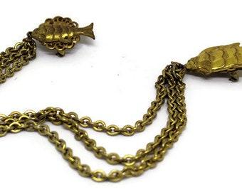 Miriam Haskell Gold Fish Chatelaine Brooch/Pin Vintage 1940's Chatelaine Style Koi Goldfish Boho Style Nautical Style Fourth Of July