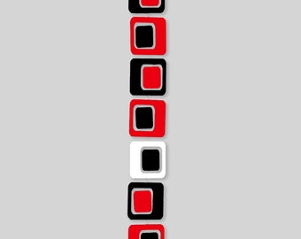 Coolsville Retro Art Mobile in Dramatic Black Red White - 3 Sizes to Choose From - Mid Century Modern Abstract Style