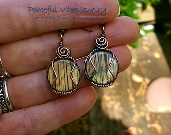 Wire Wrapped Labradorite Earrings Yellow Flashy Copper Wire Wrap Earrings Handmade Boho Hippie Artisan Jewelry