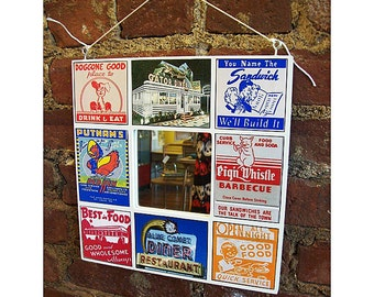 retro 1950s diner mirror vintage Route 66 rockabilly kitchen matchbook menu kitsch