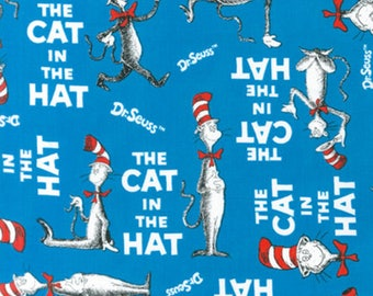 Celebration Dr Seuss The Cat In The Hat All Over Fabric - Blue - (sold by the 1/2 yard and cut continuously)