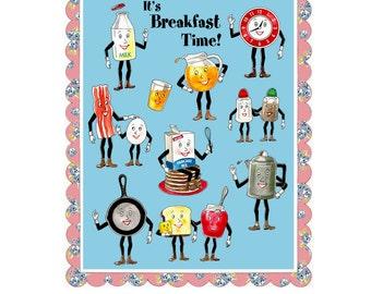 Vintage Kitchen Print - Retro Kitchen Art - Anthropomorphic Food Print - Breakfast - Housewarming Gift - Cooking - Chef - Breakfast in Bed