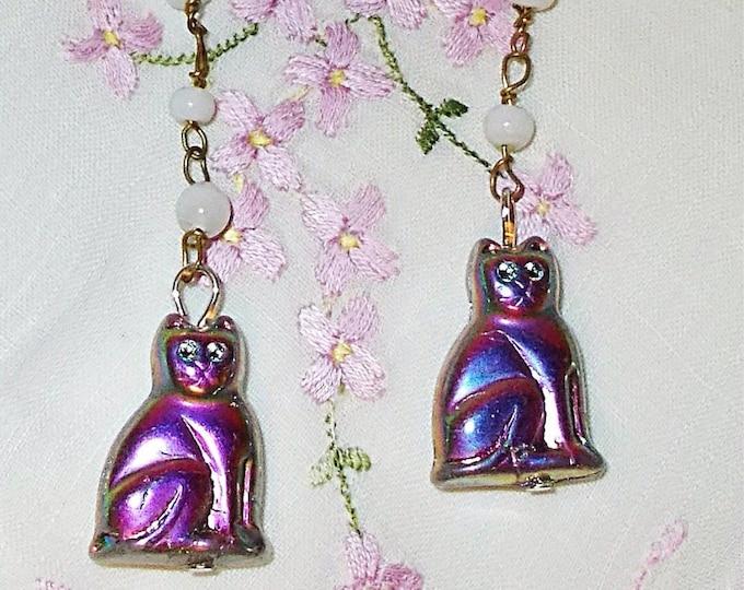Vintage 90s Chandelier Flapper Style Purple White Cat Kitten Kitty Old Czech Glass Bead Handmade Dangle Earrings