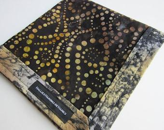 Handmade Hank EDC Hank Shades of Brown Gold Gray Green and Black Everyday Carry Pocket Dump Hank Mens Handkerchief Gift for Him Batik Fabric