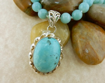 Hand knotted Amazonite gemstone necklace with Pendant