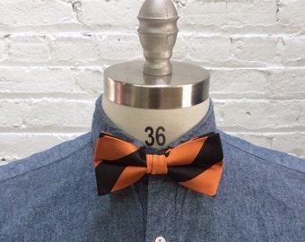 vintage bow tie / preppy stripe bowtie / burnt orange black