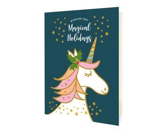 Magical Unicorn Blue Holiday Cards, Box of 10 - Christmas Cards - Wishing You Magical Holidays - OC1185-BLU-BX