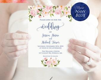 Printable Blush Pink Floral Navy Blue Wedding Invitation PDF Template, Editable 5x7 Rustic Boho Wedding Invites, DIY Instant Download #15