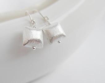 Jackie (earrings) - Brushed sterling silver puffed square earrings