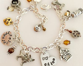 Dog Charm Bracelet, Personalized Dog Bracelet, Dog Lover's, Dog Rescue, Dog Charms, Dog Breed Choice, Dog Name Bracelet