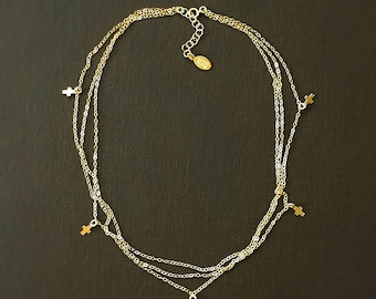 Delicate Cross Necklace with Tiny Cross Charm - 14K Gold Filled