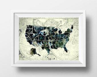 Usa map printable Etsy
