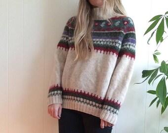 Vintage ski sweater, ski sweater, vintage sweater, wool sweater, oversized sweater, boho, hippi, boho fashion, sizs large