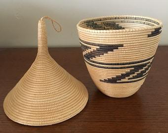 Vintage Woven African Lidded Basket
