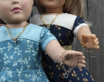 Doll Accessories 18 inch Doll Clothes American Made Girl Kids Friendship Necklaces Charm Rhinestone Bracelets Doll Dress Gifts Under 20