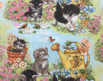 Cat Fabric Kittens Birds Butterflies Cotton By the Yard 36 Inches Long