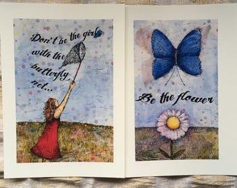 Be the flower - inspiring art print set