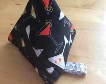 Triangle coin purse, pyramid coin purse, mini purse, dachshund coin purse, martini fabric