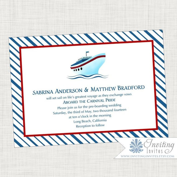 Cruise Ship Wedding Invitation Printable Digital