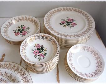 Empire porcelain Paula-Louise tableware, Staffordshire England, 22 kt gold