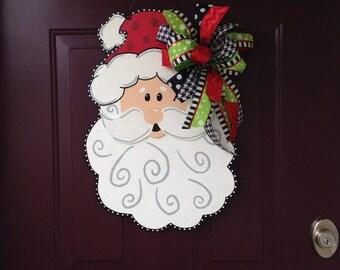 Christmas Santa Claus wooden hand painted door hanger