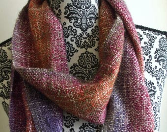 Hand Woven Scarf in Pink & Purple