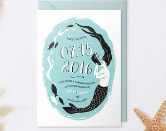 Mermaid Save the Date Card - Beach Save The Date - Destination Wedding - Ocean - Fish - Illustration
